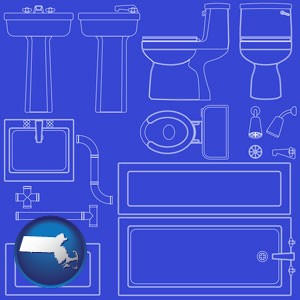 a bathroom fixtures blueprint - with Massachusetts icon