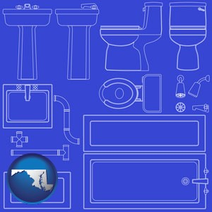 a bathroom fixtures blueprint - with Maryland icon
