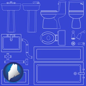 a bathroom fixtures blueprint - with Maine icon