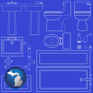 a bathroom fixtures blueprint - with Michigan icon