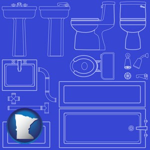a bathroom fixtures blueprint - with Minnesota icon