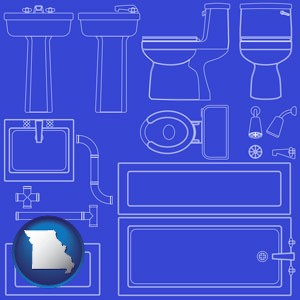 a bathroom fixtures blueprint - with Missouri icon