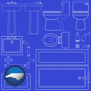 a bathroom fixtures blueprint - with North Carolina icon