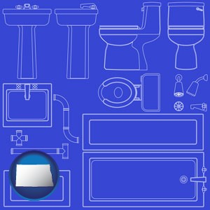 a bathroom fixtures blueprint - with North Dakota icon