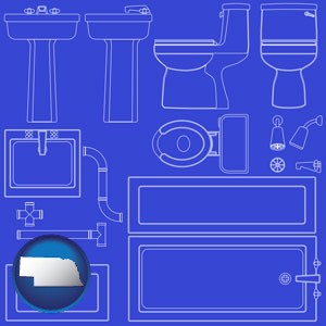 a bathroom fixtures blueprint - with Nebraska icon