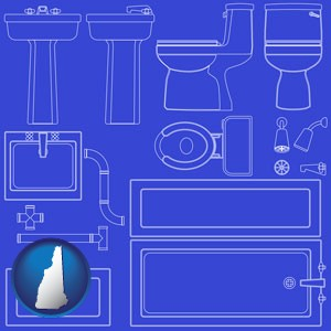 a bathroom fixtures blueprint - with New Hampshire icon