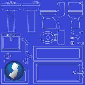 a bathroom fixtures blueprint - with New Jersey icon