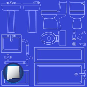 a bathroom fixtures blueprint - with New Mexico icon