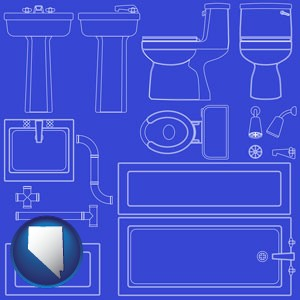 a bathroom fixtures blueprint - with Nevada icon