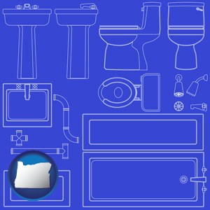a bathroom fixtures blueprint - with Oregon icon