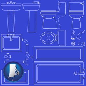 a bathroom fixtures blueprint - with Rhode Island icon