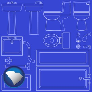 a bathroom fixtures blueprint - with South Carolina icon