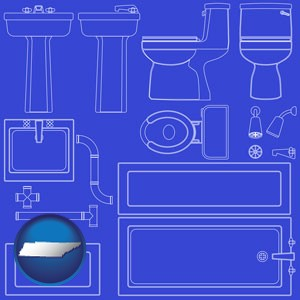 a bathroom fixtures blueprint - with Tennessee icon
