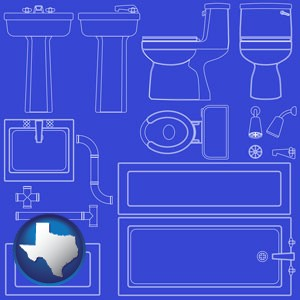 a bathroom fixtures blueprint - with Texas icon