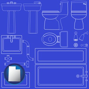 a bathroom fixtures blueprint - with Utah icon