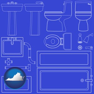 a bathroom fixtures blueprint - with Virginia icon