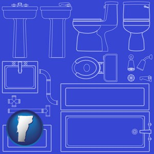 a bathroom fixtures blueprint - with Vermont icon