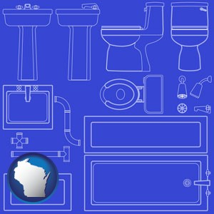a bathroom fixtures blueprint - with Wisconsin icon