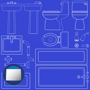 a bathroom fixtures blueprint - with Wyoming icon