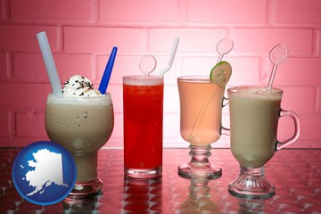 four beverages - with Alaska icon
