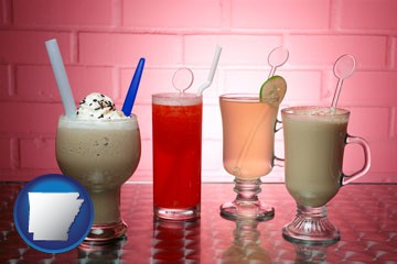 four beverages - with Arkansas icon