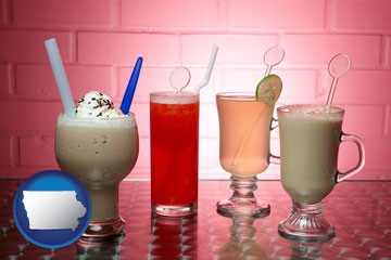 four beverages - with Iowa icon
