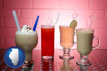 four beverages - with Illinois icon