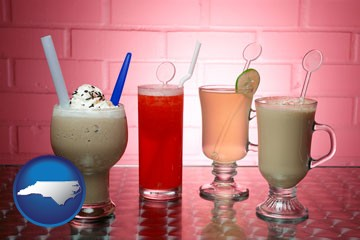 four beverages - with North Carolina icon