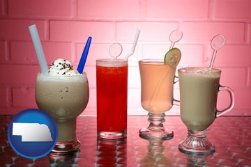 four beverages - with Nebraska icon