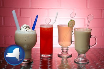 four beverages - with New York icon