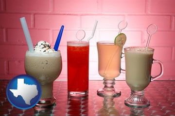 four beverages - with Texas icon