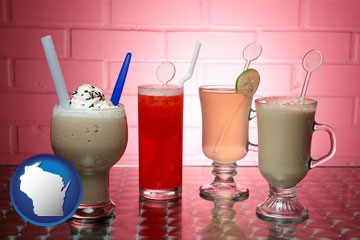four beverages - with Wisconsin icon