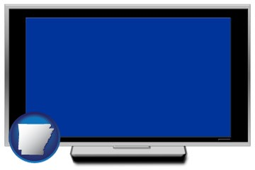 a big screen tv with blue screen - with Arkansas icon