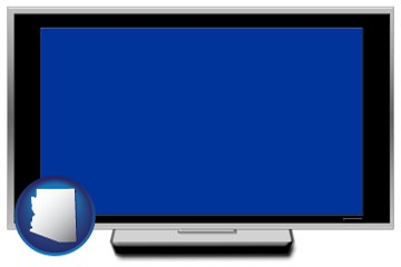 a big screen tv with blue screen - with Arizona icon