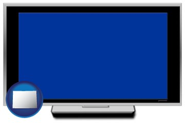a big screen tv with blue screen - with Colorado icon