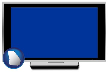 a big screen tv with blue screen - with Georgia icon