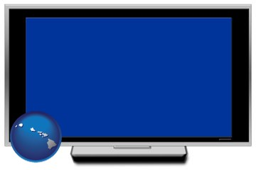 a big screen tv with blue screen - with Hawaii icon