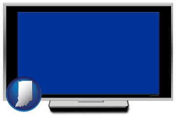 a big screen tv with blue screen - with Indiana icon