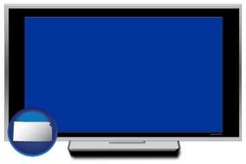 a big screen tv with blue screen - with Kansas icon
