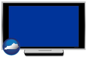 a big screen tv with blue screen - with Kentucky icon