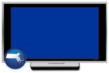 a big screen tv with blue screen - with Massachusetts icon