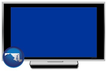 a big screen tv with blue screen - with Maryland icon