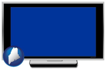 a big screen tv with blue screen - with Maine icon