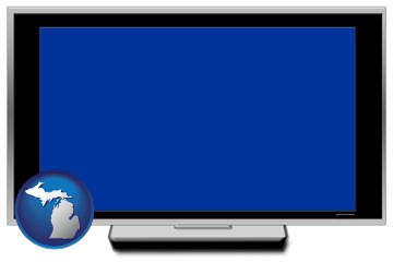 a big screen tv with blue screen - with Michigan icon