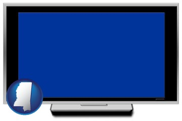 a big screen tv with blue screen - with Mississippi icon