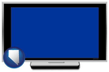 a big screen tv with blue screen - with Nevada icon