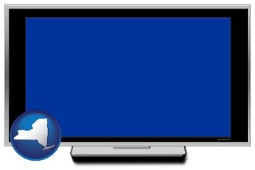 a big screen tv with blue screen - with New York icon
