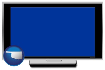 a big screen tv with blue screen - with Oklahoma icon