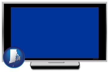 a big screen tv with blue screen - with Rhode Island icon
