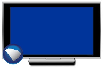 a big screen tv with blue screen - with South Carolina icon